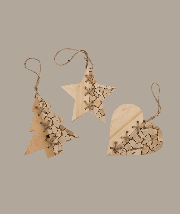 Pendente stella/pino/cuore legno 15 cm
