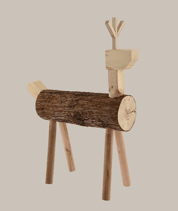 Renna ceppo legno h.51 cm