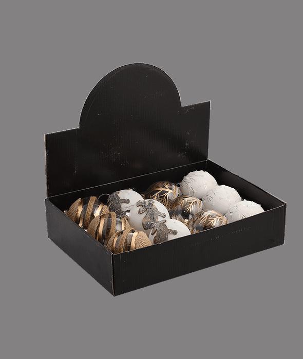 Palla di Natale vetro bianco-oro 4 decori assortiti d.8 cm