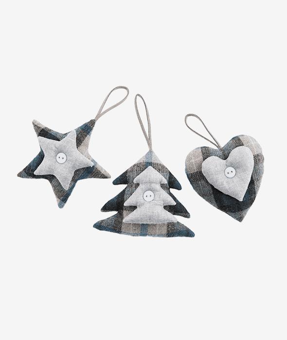 Pendente stella/pino/cuore stoffa scozzese 10 cm