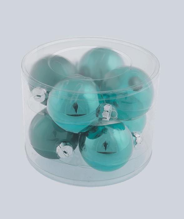 8 Palle di Natale vetro verde ottanio d.8 cm