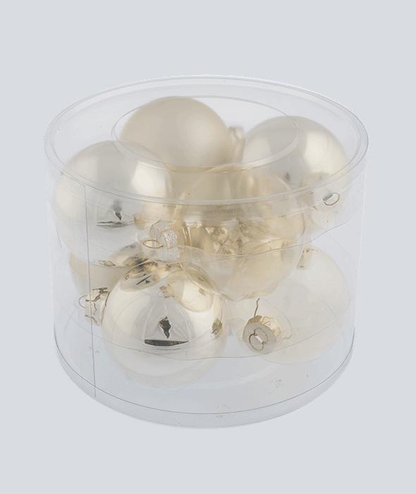8 Palle di Natale vetro ecrù chiaro d.8 cm
