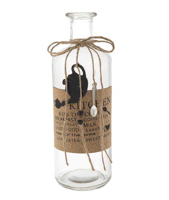 Bottiglia vetro etichetta sughero 9x9x28 cm