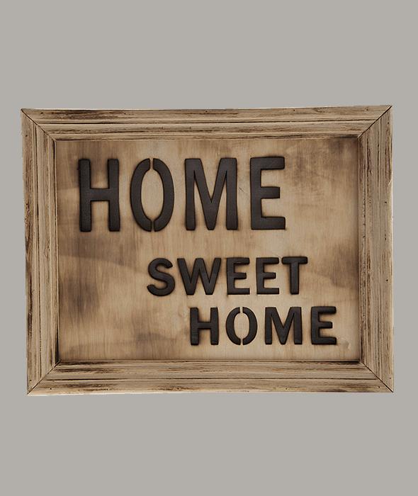 Quadro legno scritta e luci 34x27x5 cm