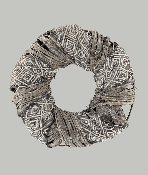 Corona rattan c/nastro di tessuto 22 cm