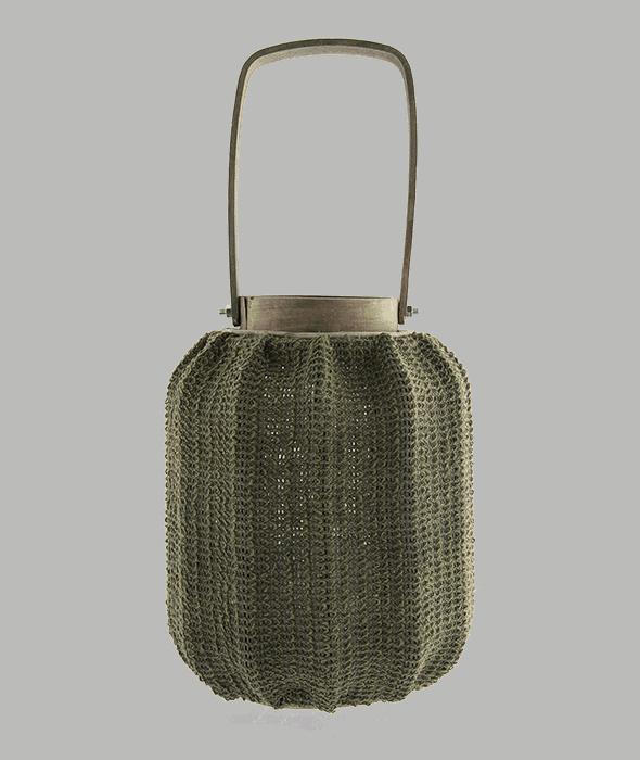 Lanterna legno e tessuto grezzo verde 20×30 cm con portacandela vetro