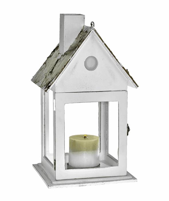Lanterna legno tetto corteccia 21×38 cm