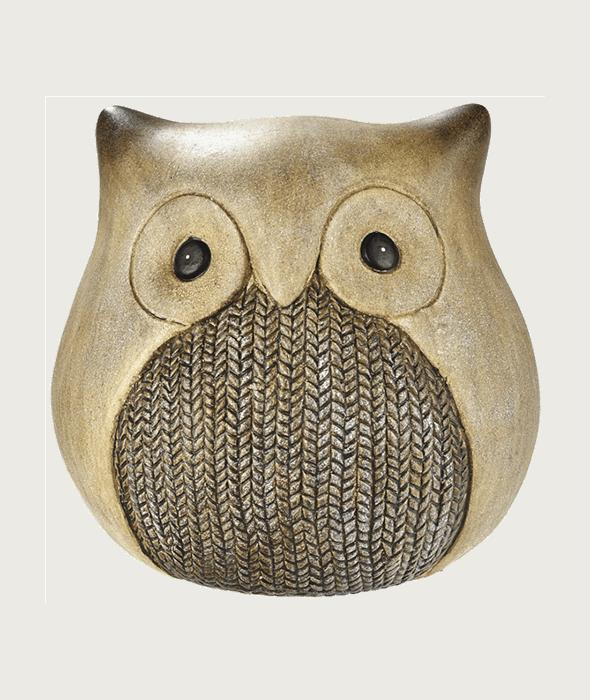 Civetta terracotta decoro maglia 15 cm