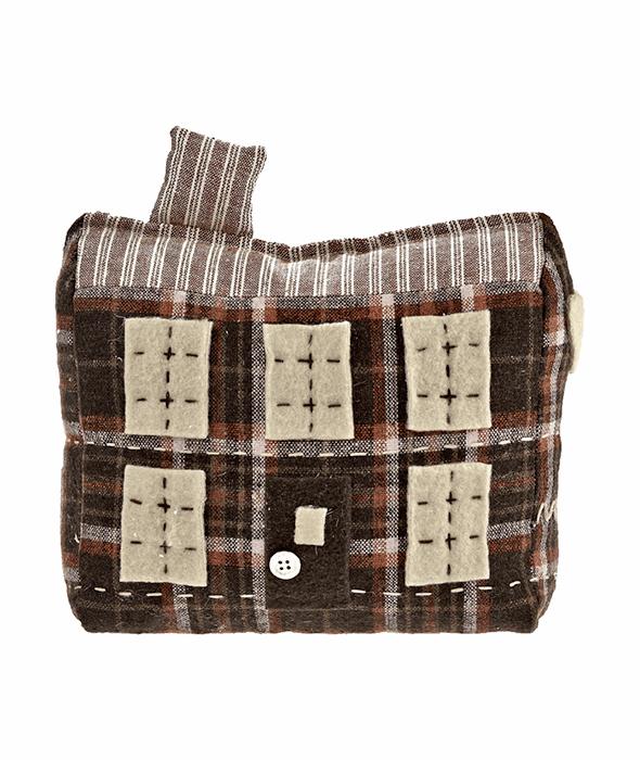 Fermaporta casa tessuto scozzese marrone 20×17 cm