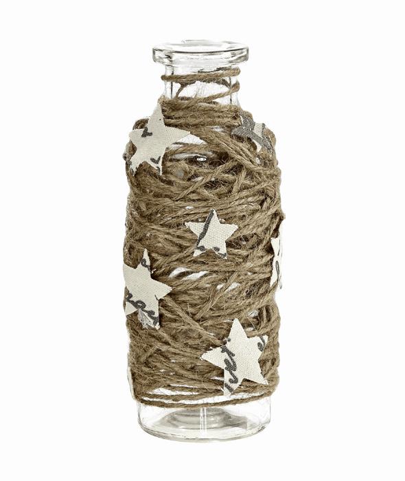 Vaso vetro corda c/stelle  h.22 cm