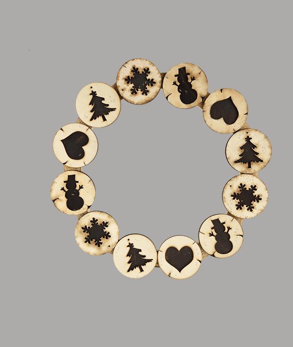 Corona legno effetto bruciato d.40 cm
