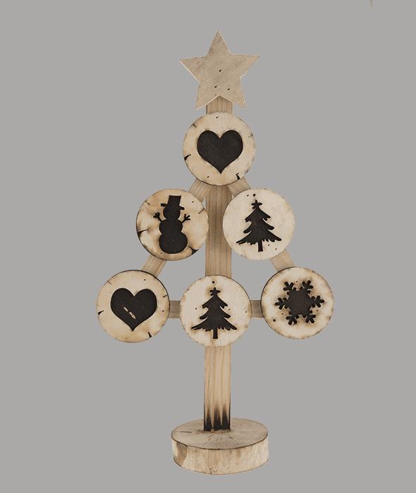 Albero legno effetto bruciato 27x10x48 cm