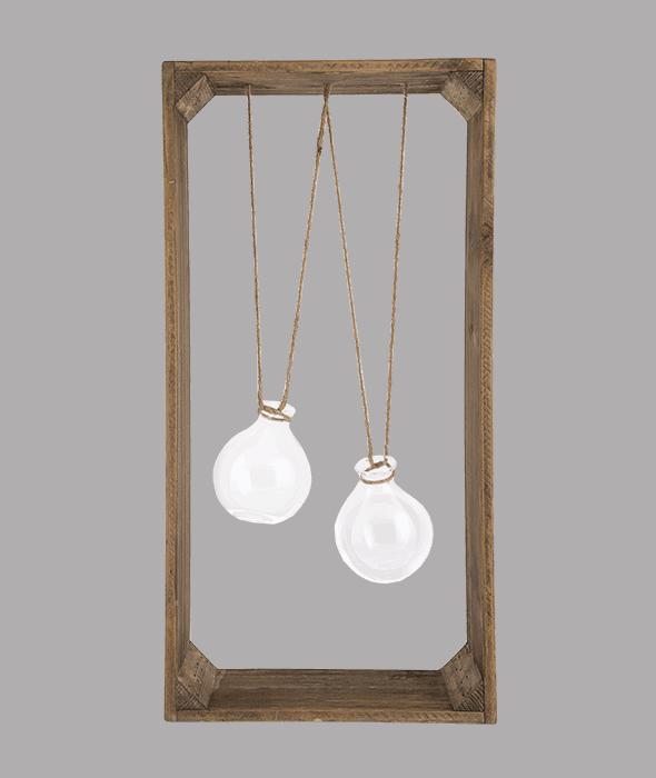 Quadro legno c/2 ampolle vetro 53x28x46 cm