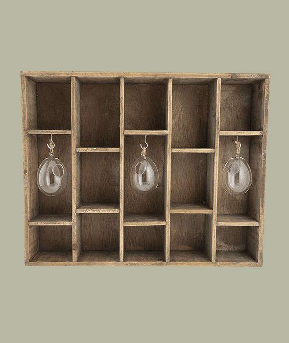 Bacheca legno appendere c/ampolle vetro 50x8x40 cm