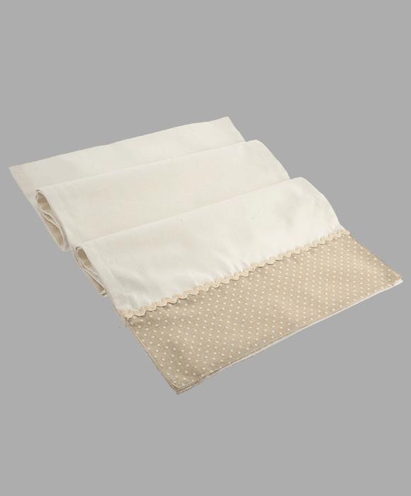 *Table runner tessuto bianco bordo pois 40×180 cm*