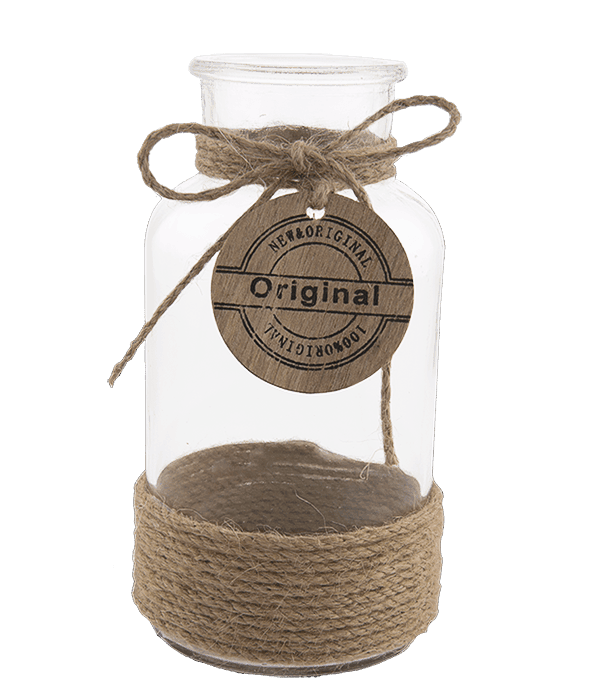Bottiglia vetro c/fascia corda e sigillo legno 8×16 cm