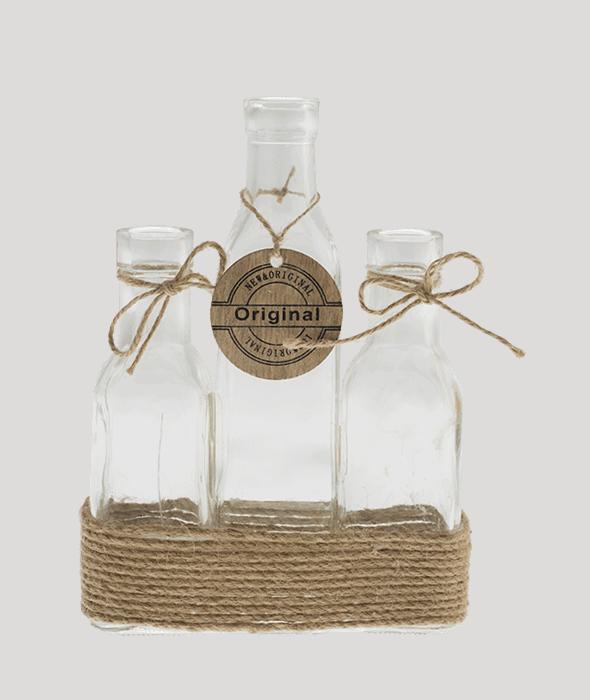 Set 3 bottiglie vetro c/fascia corda e sigillo legno 15x5x21 cm