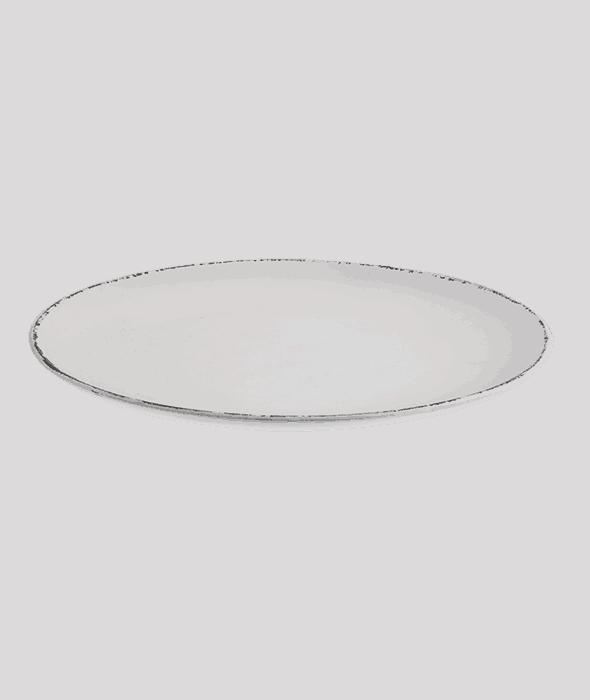 Vassoio rotondo MDF bianco anticato d.40 cm