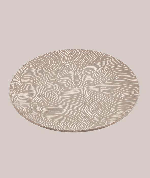 Vassoio rotondo MDF tortora decoro bianco  49 cm