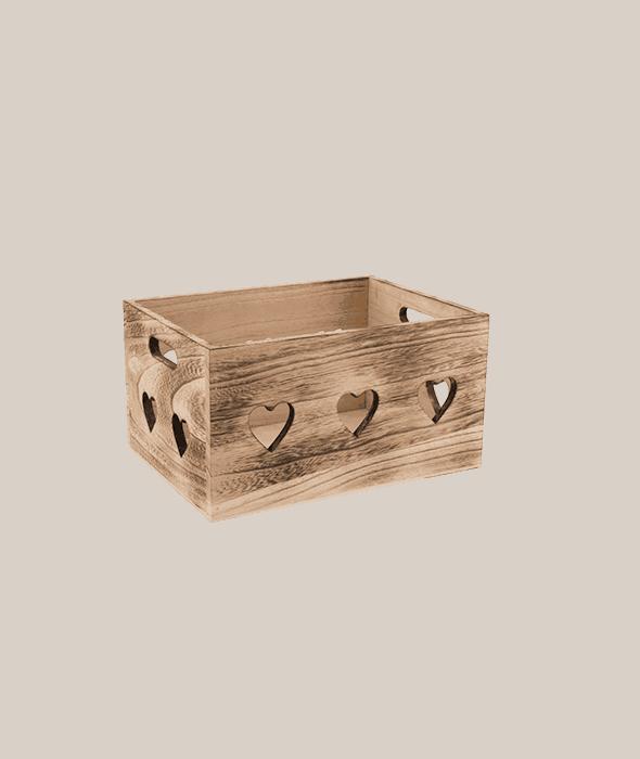 Cassetta legno con cuori 30x21x16 cm