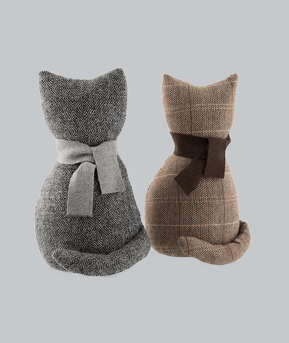 Fermaporta gatto stilizzato tessuto assortito marrone/grigio 31cm