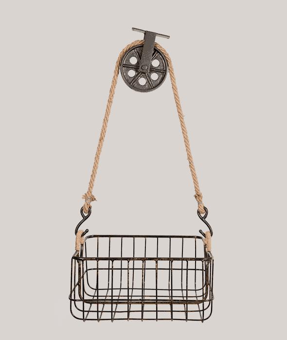 Cestello metallo c/carrucola 39x34x23 cm