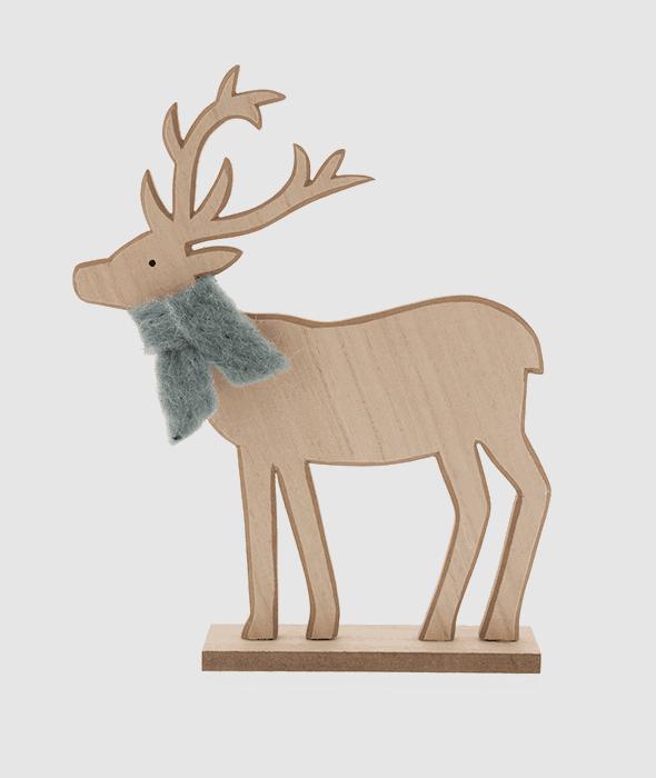 Rentier Holz Schal Wolle grün hell 27×35 cm
