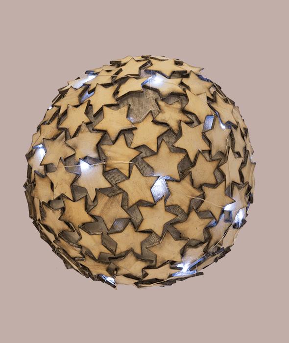 Grosse Kugel Sterne Holz natürlich und Lichter d.30 cm