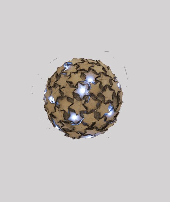 Sferone c/stelle legno naturale e luci d.20 cm