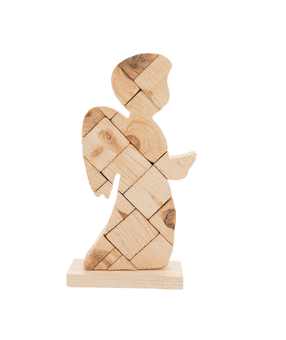 Angelo legno effetto mosaico 30 cm
