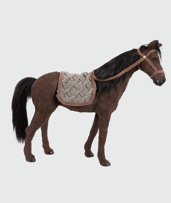 Cavallo marrone pelo sintetico criniera nera 74x21x63 cm