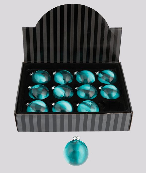 Weihnachskugel Glas abgetönt grün petrolblau d. 8cm