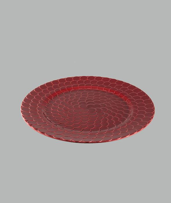Sottopiatto plastica rosso effetto squame d.33 cm