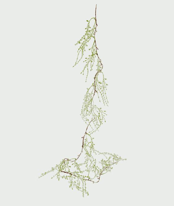 Tralcio lichene artificiale verde innevato 140 cm