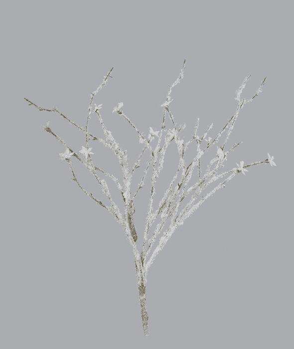 Ramo bianco innevato artificiale glitter e stelle alpine 60 cm