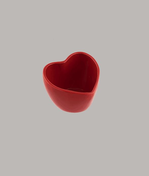 Vasetto cuore ceramica rossa 13x12x10 cm
