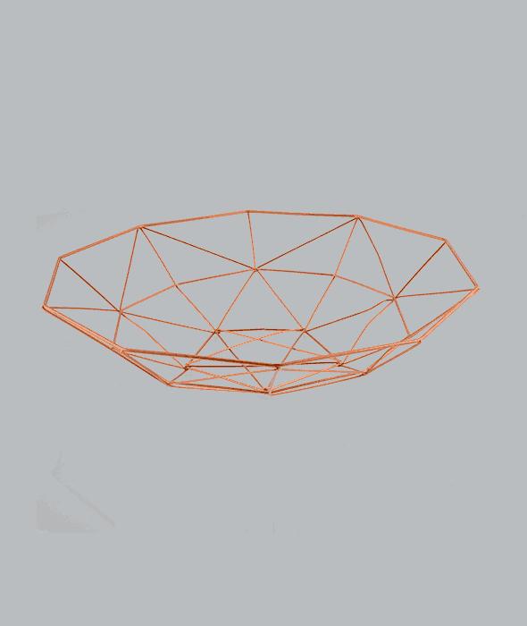 Cestino filo metallo color rame 33x33x8 cm