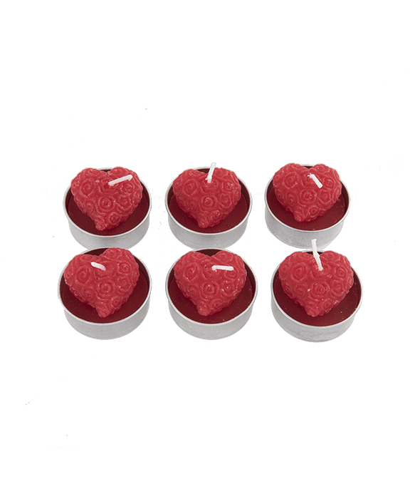 6 Candele t-light cuore rosso