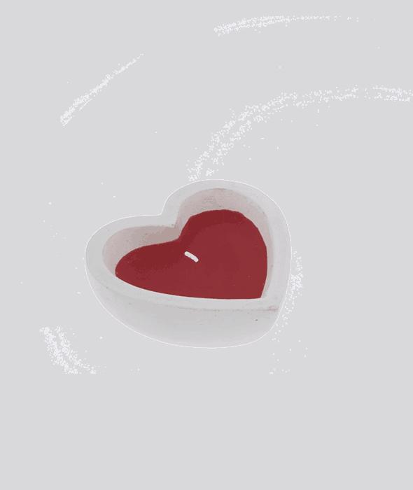 Cuore gesso bianco con cera rossa 10,5 cm