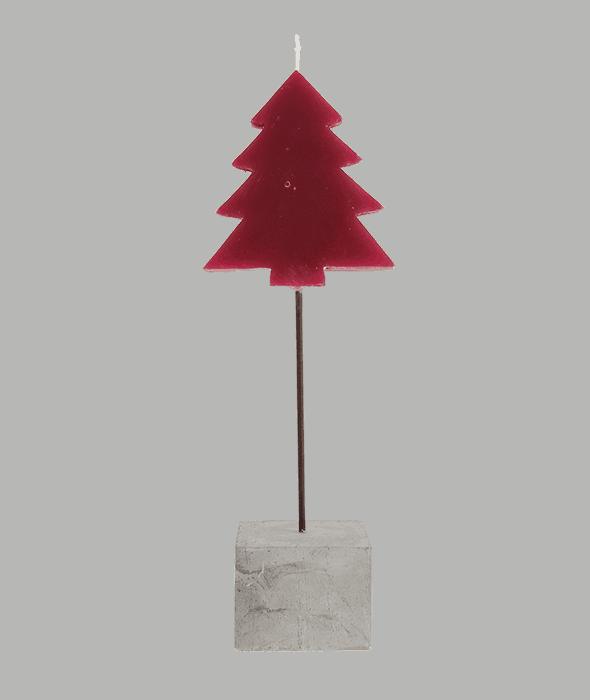 Candela pinetto rosso base sasso h.25 cm