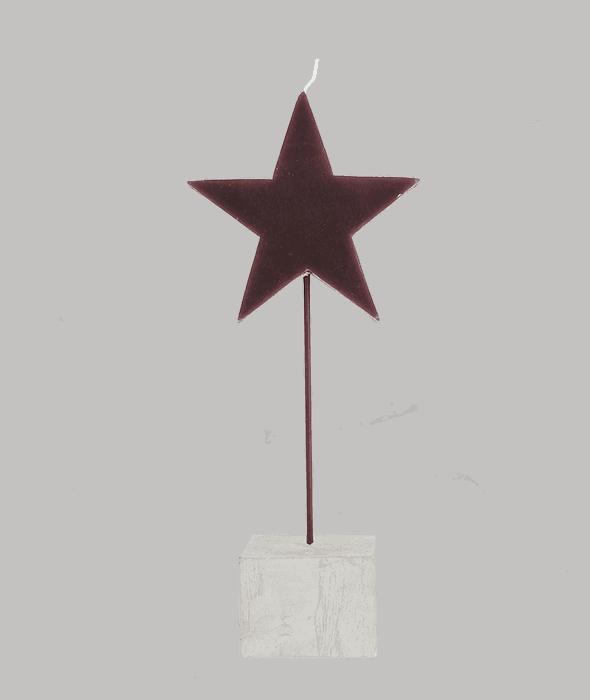 Candela stella burgundy base sasso h.25 cm