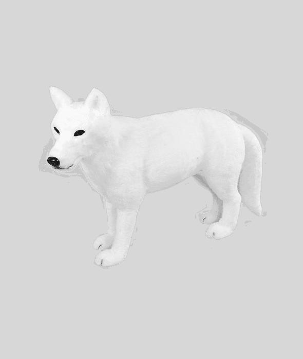 Lupo bianco polistirolo rivestimento pelo sintetico 79x20x49 cm