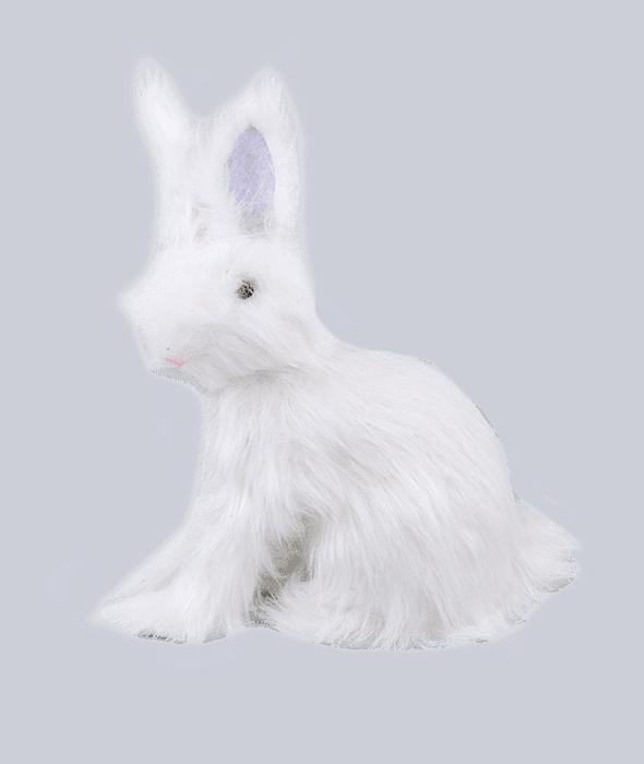 Coniglio bianco polistirolo rivestimento pelo sintetico 30x16x38 cm