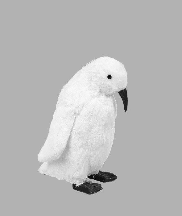 Pinguino bianco polistirolo rivestimento pelo sintetico 22x18x25 cm
