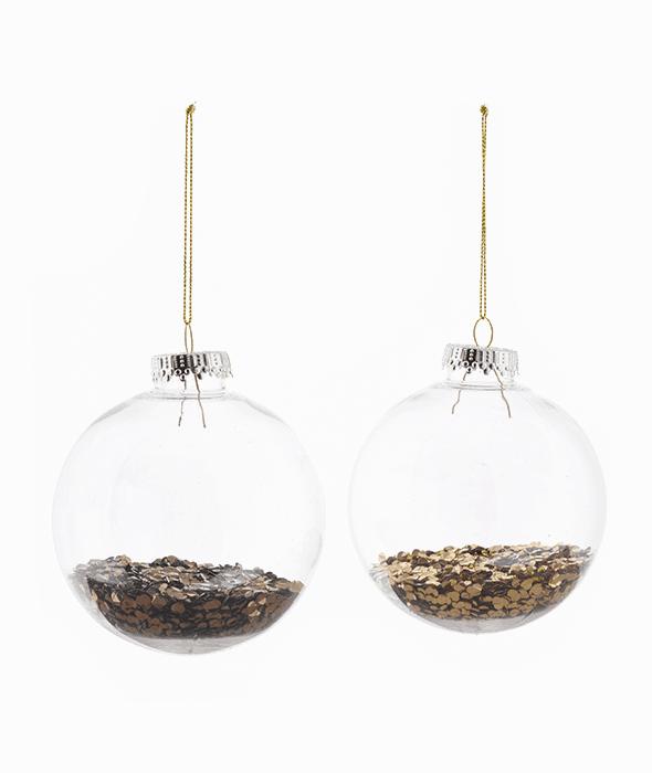 Palla di Natale plastica confetti oro/copper 2 decori assortiti d.10 cm