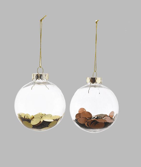 Palla di Natale plastica paillettes oro/copper 2 decori assortiti d.8 cm