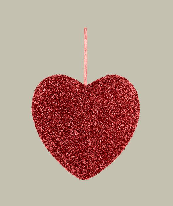 Pendente polistirolo cuore rosso glitter 23 cm