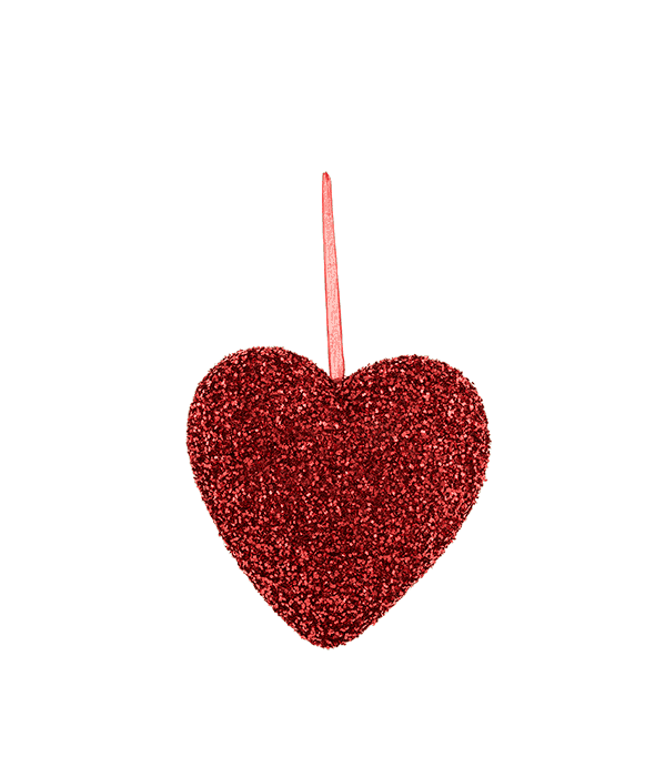 Pendente polistirolo cuore rosso glitter 20 cm