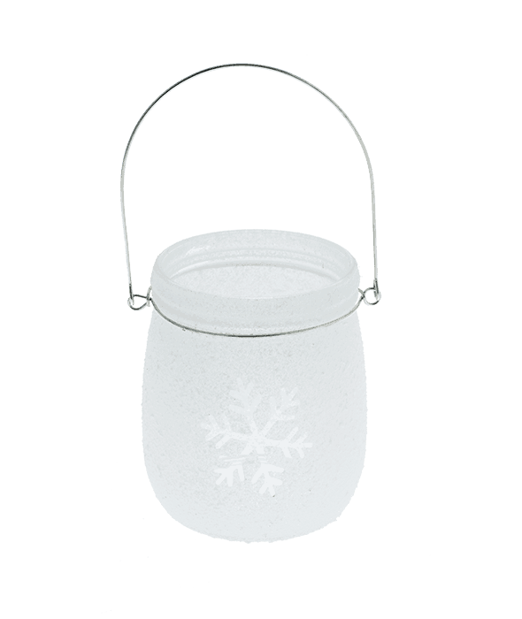 Portacandela vetro bianco satinato effetto brinato h.13 cm
