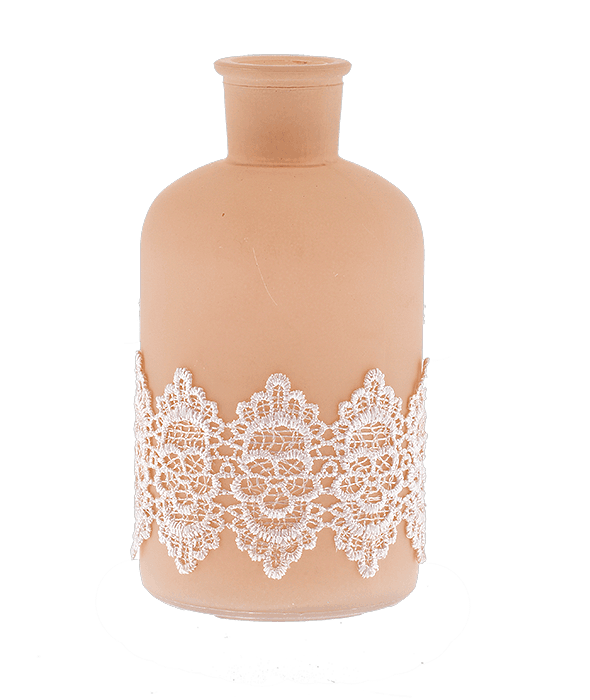Bottiglia vetro cipria fascia pizzo h.16 cm